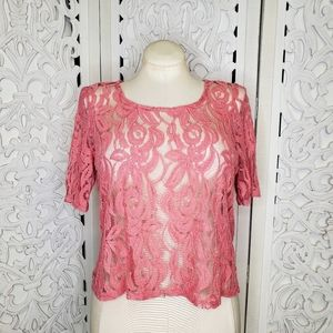NY Collection Lace Overlay Top LP